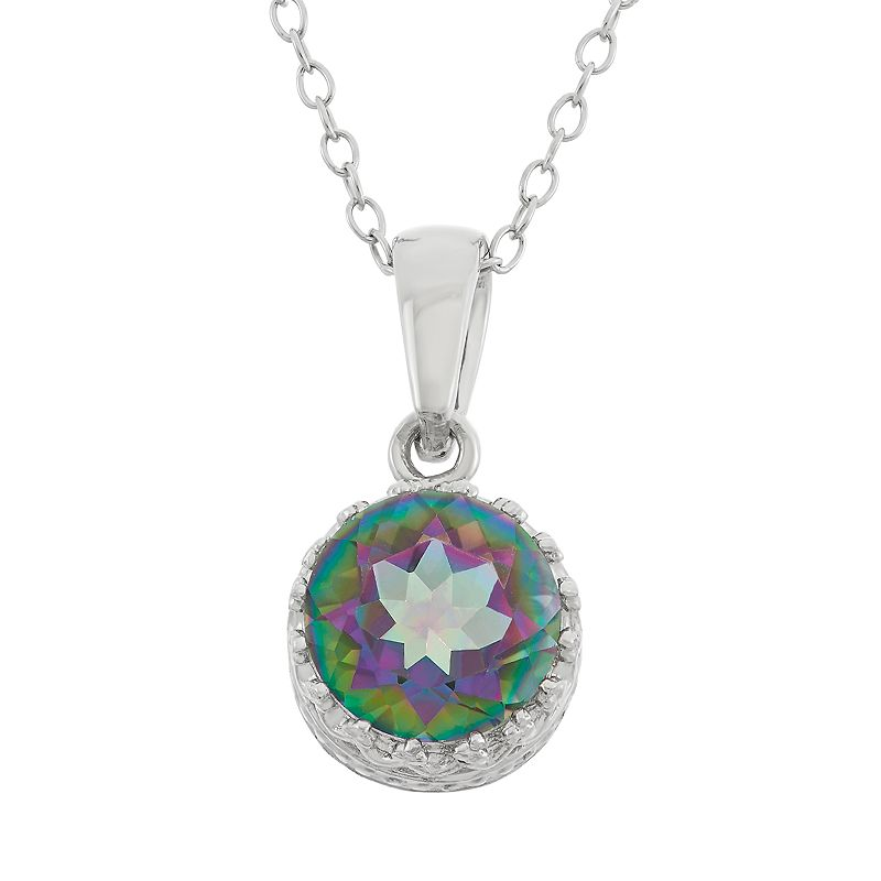 Rainbow quartz sterling silver pendant necklace for Kohls jewelry mens rings