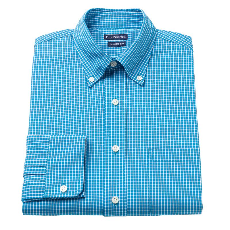 Men's Croft & Barrow® Classic-Fit Checked Button-Down Collar Dress Shirt