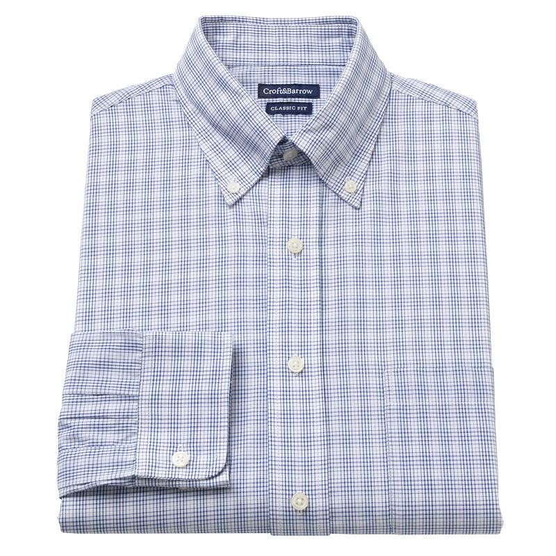 Men's Croft & Barrow® Classic-Fit Plaid Button-Down Collar Dress Shirt