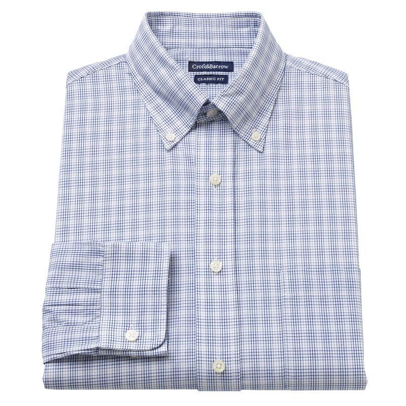 Men's Croft & Barrow® Fitted Plaid Button-Down Collar Dress Shirt