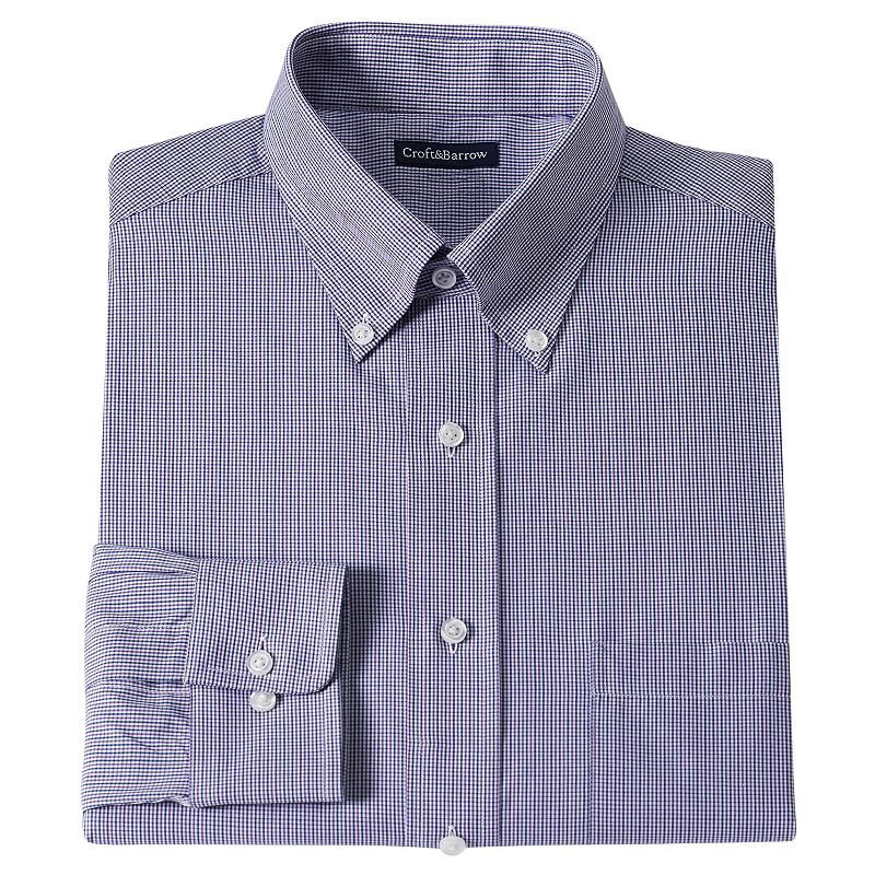 Men's Croft & Barrow® Fitted Checked Dress Shirt