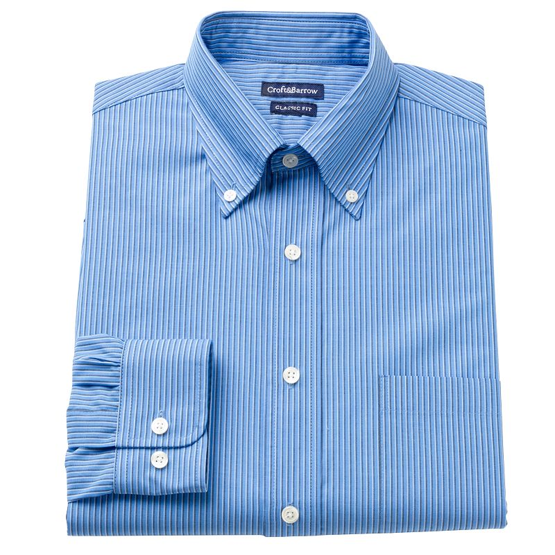 Men's Croft & Barrow® Fitted Striped Button-Down Collar Dress Shirt
