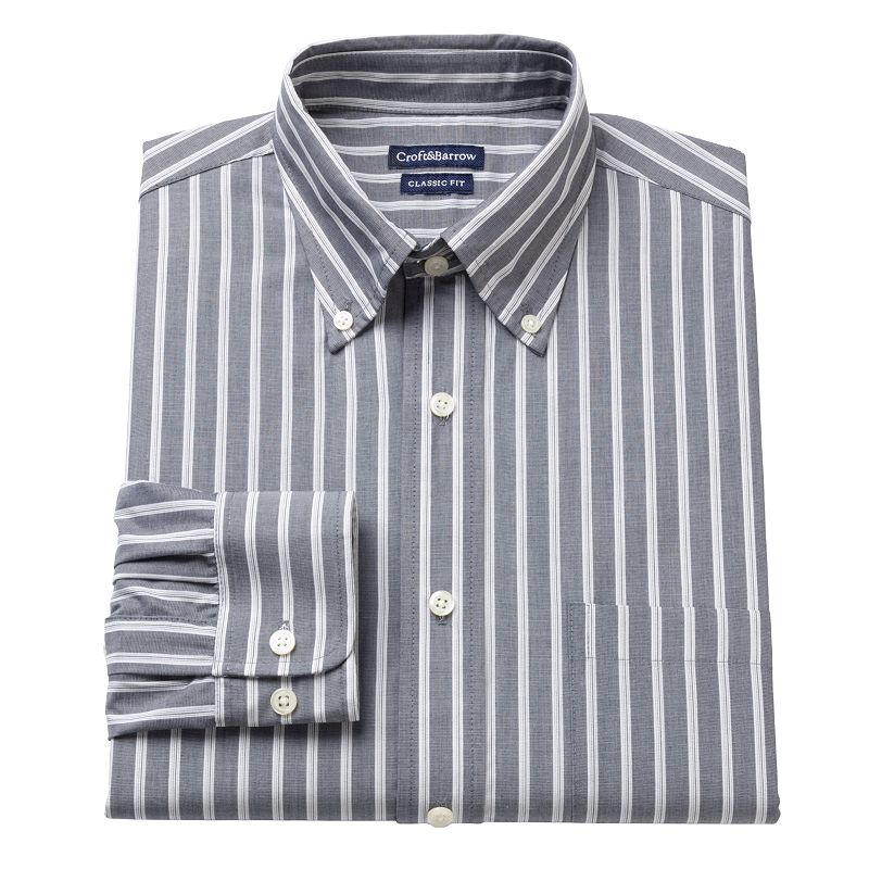 Men's Croft & Barrow® Charcoal Fitted Striped Button-Down Collar Dress Shirt