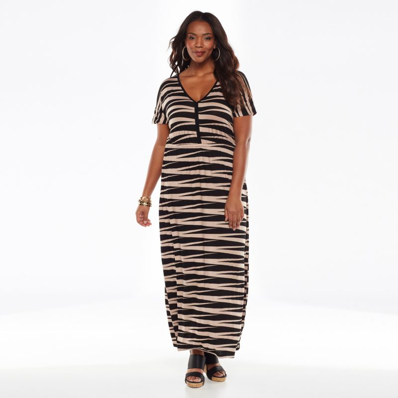 Plus Size Plus Size Design 365 Striped Maxi Dress, Women's, Size: 1X, Black