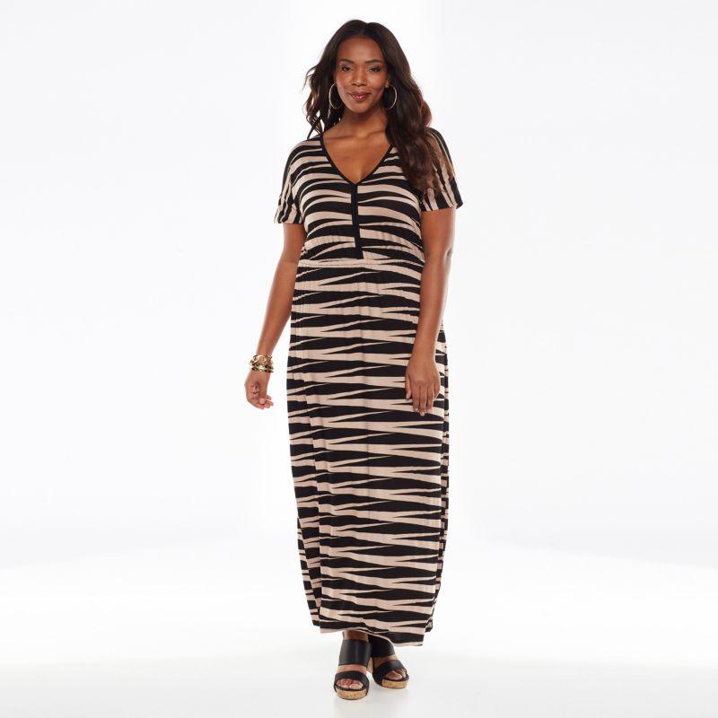 Plus Size Plus Size Design 365 Striped Maxi Dress, Women's, Size: 1X, Black