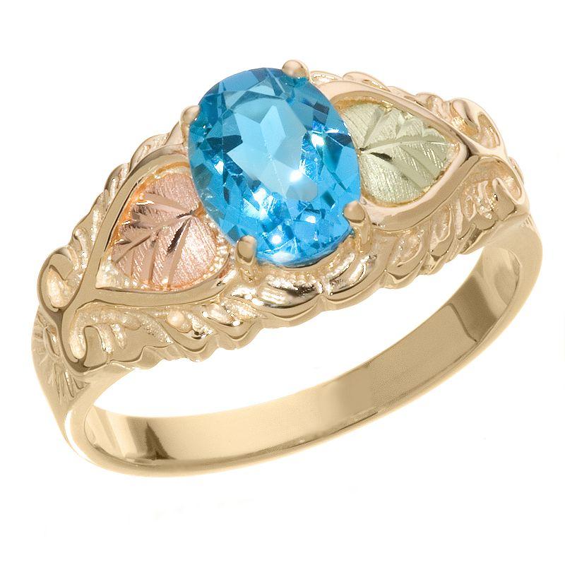 10k Gold Blue Topaz Leaf Ring