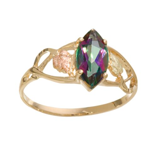 Black Hills Gold Tri-Tone Mystic Fire Topaz Ring