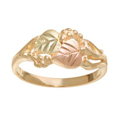 Black Hills Gold Tri-Tone Leaf & Grape Ring