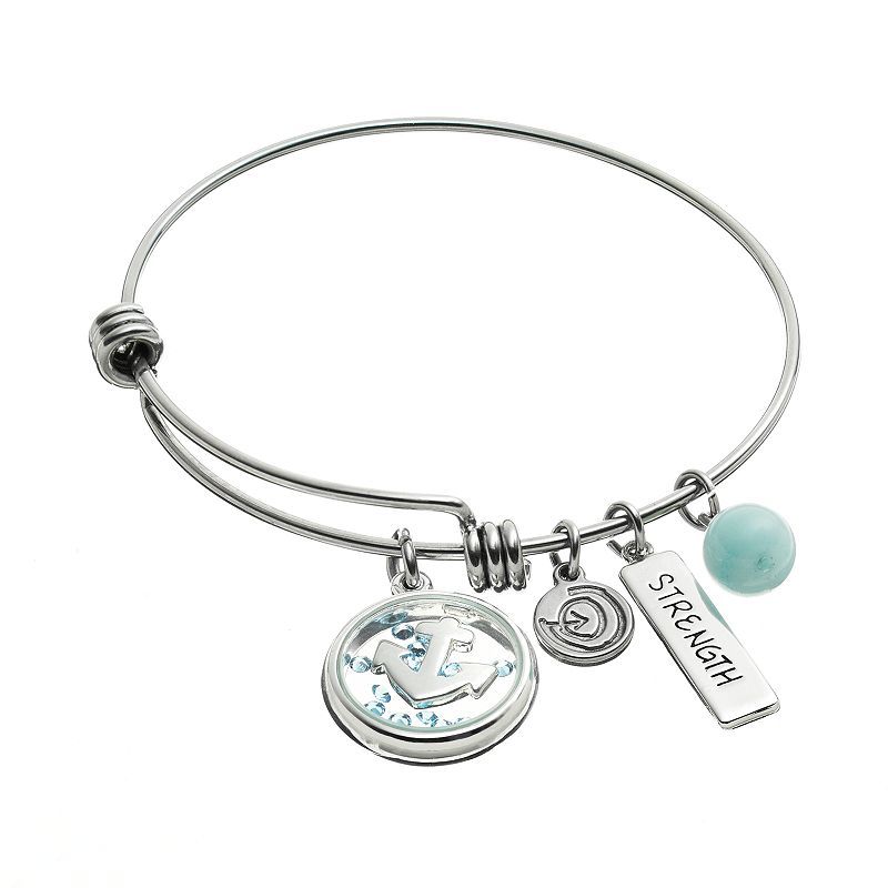 love this life Crystal and Aventurine Stainless Steel ''Strength'' Charm Bangle Bracelet