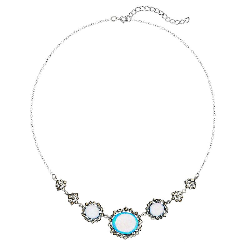Tori Hill Simulated Blue Opal and Marcasite Sterling Silver Necklace