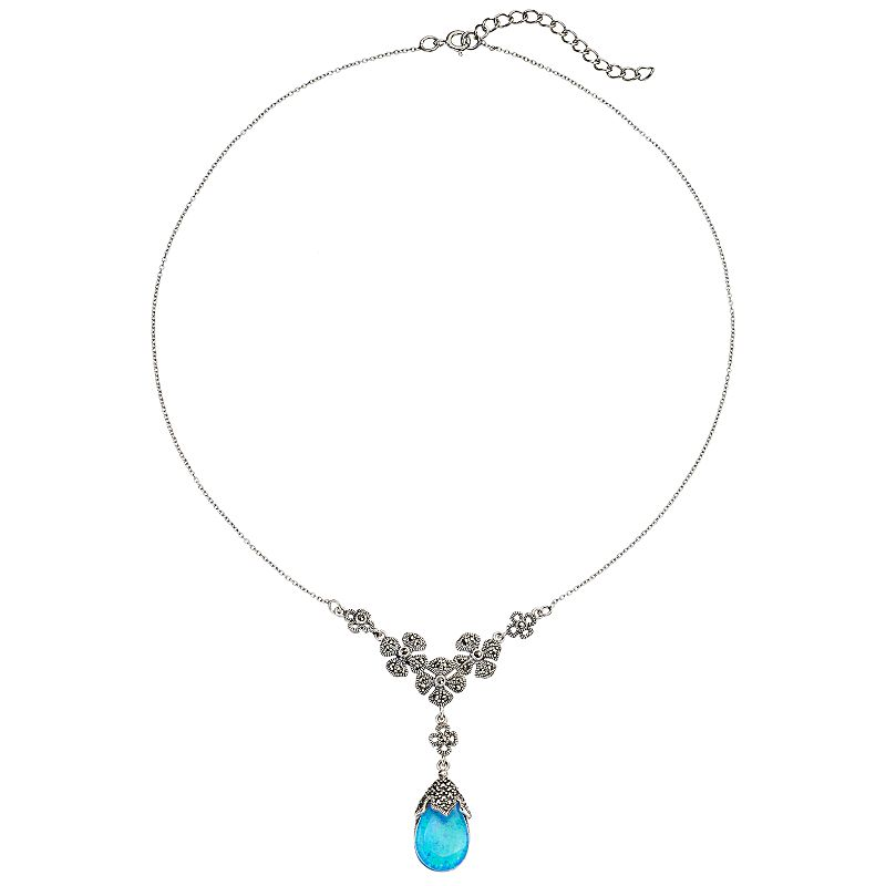 Tori Hill Simulated Blue Opal and Marcasite Sterling Silver Flower Teardrop Necklace