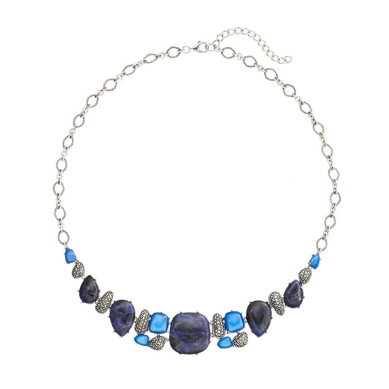Tori Hill Blue Agate, Blue Sodalite and Marcasite Sterling Silver Geometric Necklace