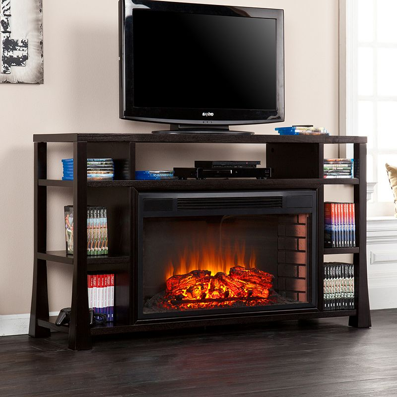 Southern Enterprises Meyers Media Console And Electric Fireplace, Black