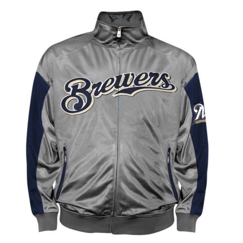 Big & Tall Milwaukee Brewers Charcoal Tricot Track Jacket