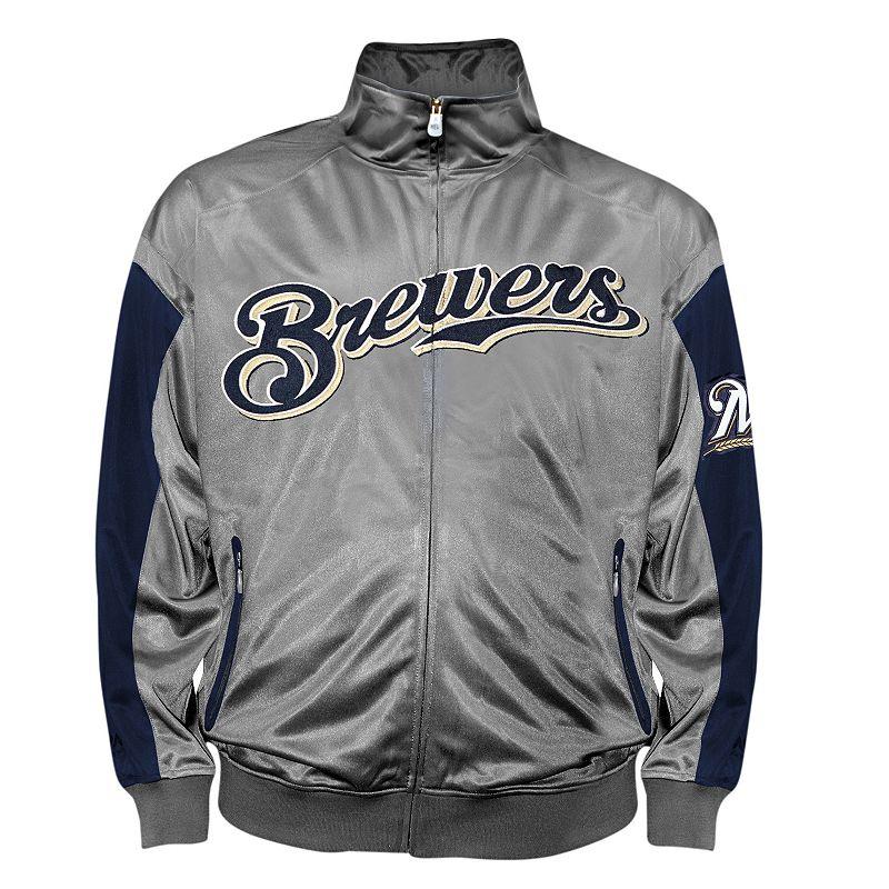 Big & Tall Milwaukee Brewers Charcoal Tricot Track Jacket