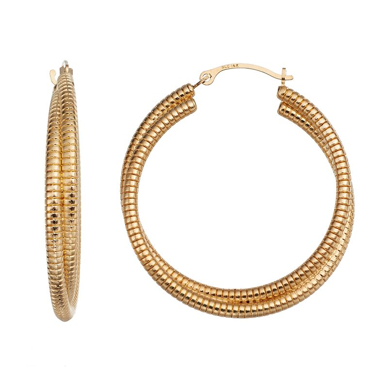 gold luxe diamond accent textured double hoop earrings in. Black Bedroom Furniture Sets. Home Design Ideas