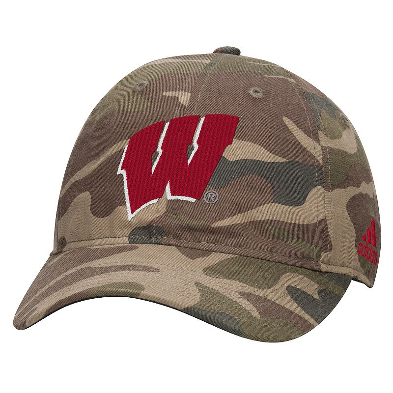 Adult adidas Wisconsin Badgers Camouflage Adjustable Slouch Cap