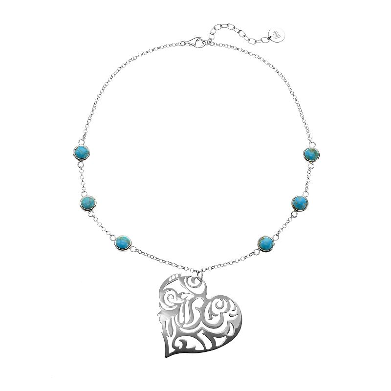 Turquoise Sterling Silver Filigree Heart Necklace