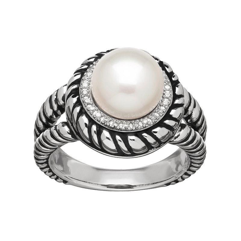 Freshwater by HONORA Freshwater Cultured Pearl and Diamond Accent Sterling Silver Twist Halo Ring