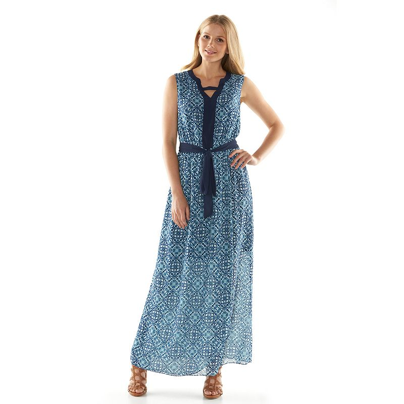ab studio tile chiffon maxi dress women 39 s size