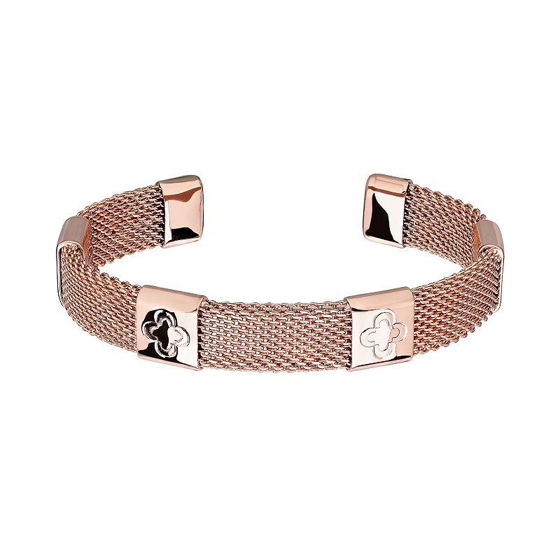 Marie Claire Jewelry Rose Gold Tone Clover Mesh Cuff Bracelet