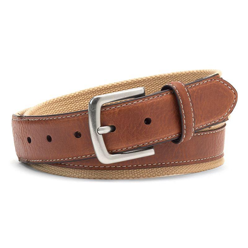 Men's IZOD Canvas & Leather Belt