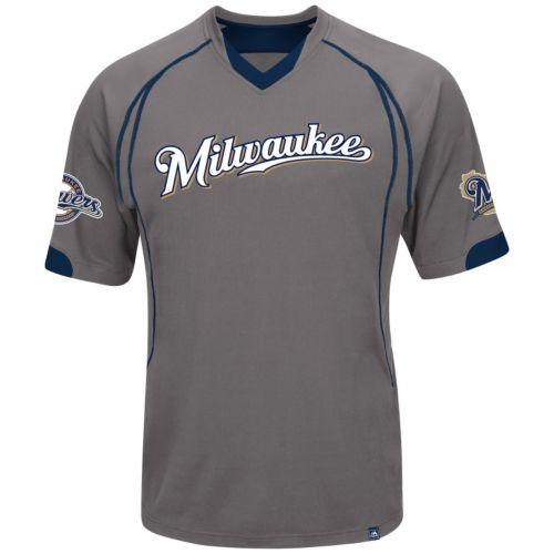 Majestic Milwaukee Brewers Lead Hitter V-Neck Raglan Top - Men