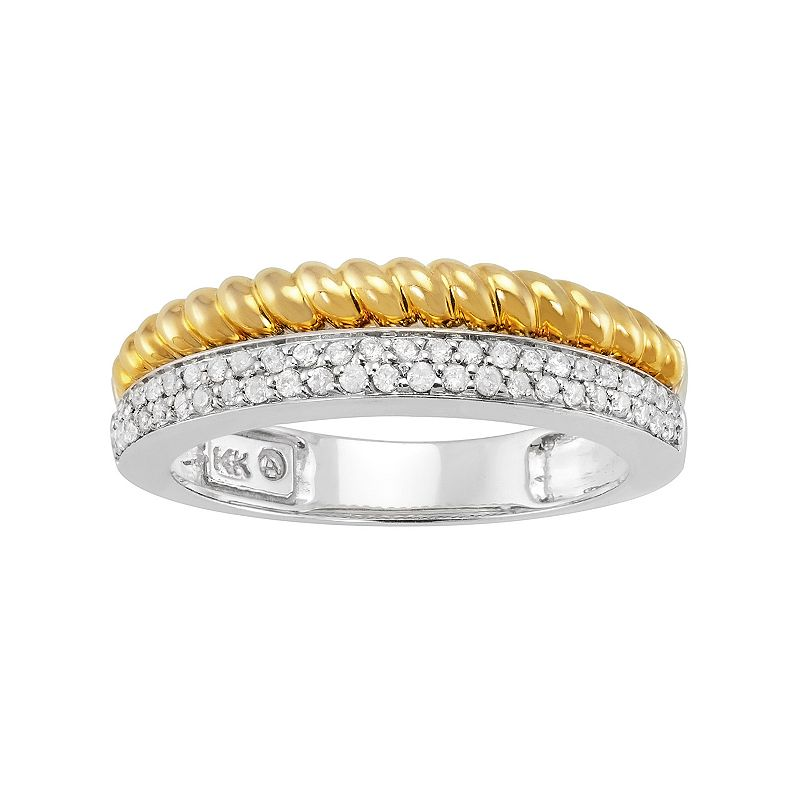1/4 Carat T.W. Diamond 14k Gold Two Tone Twist Ring