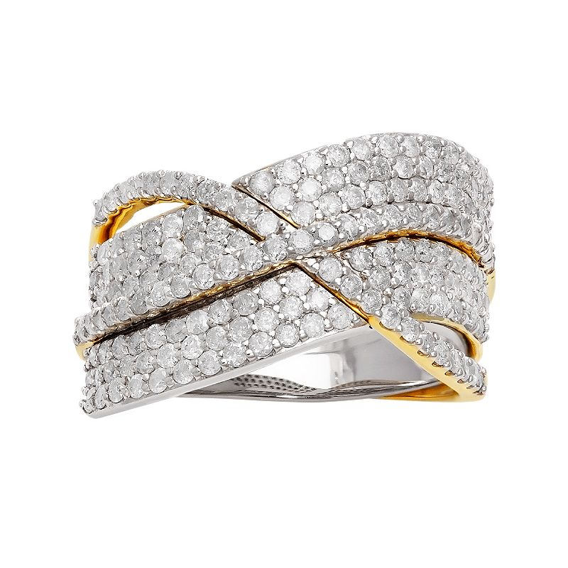 1 3/8 Carat T.W. Diamond 14k Gold Two Tone Crisscross Ring