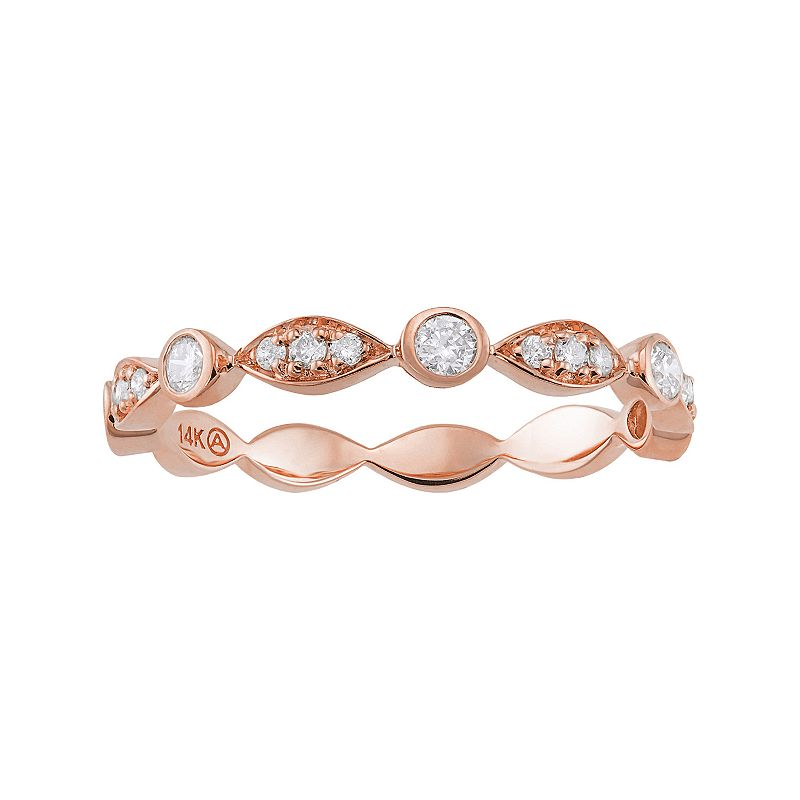 1/4 Carat T.W. Diamond 14k Rose Gold Scalloped Stack Ring