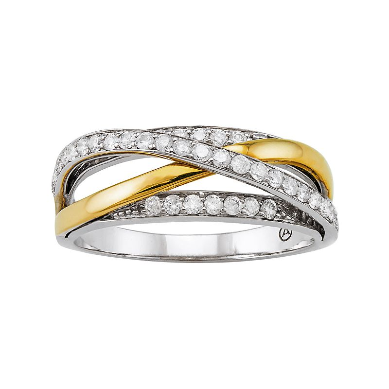 3/8 Carat T.W. Diamond 10k Gold Two Tone Crisscross Ring