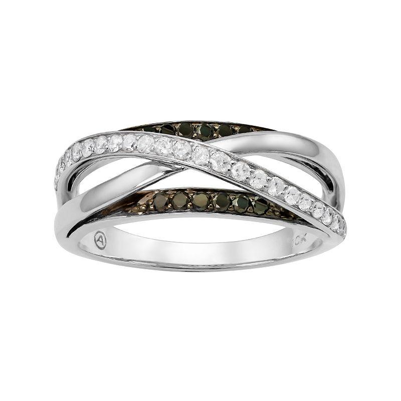 3/8 Carat T.W. Black and White Diamond 10k White Gold Crisscross Ring