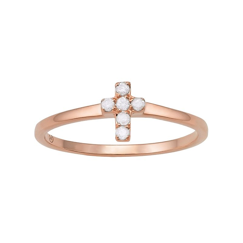 1/10 Carat T.W. Diamond 10k Rose Gold Cross Ring