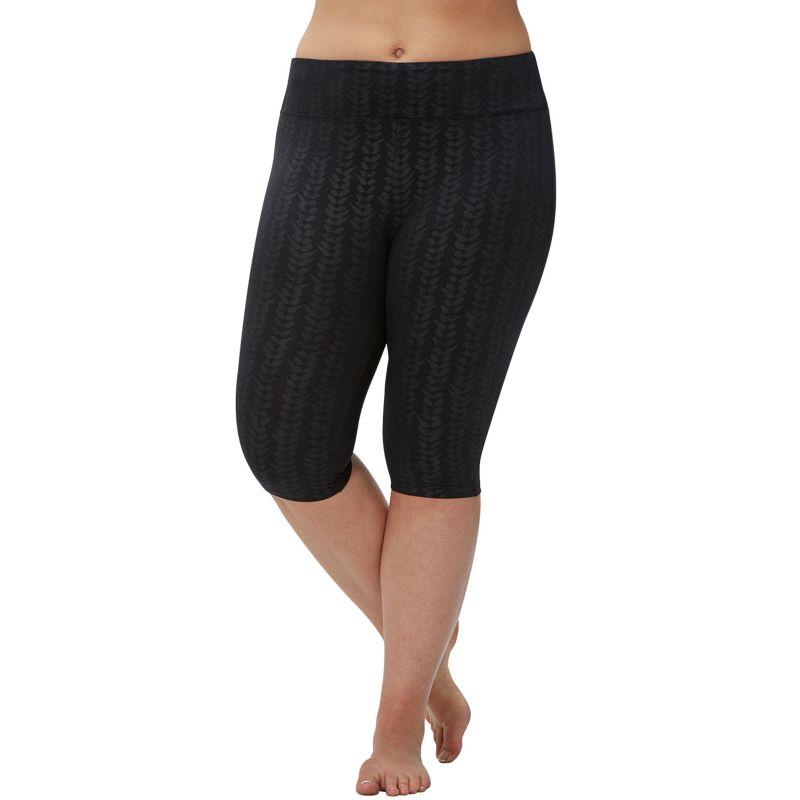 Plus Size Plus Size Marika Embossed Sanded Dry Wik Capri Yoga Leggings, Women's, Size: 1X, Black
