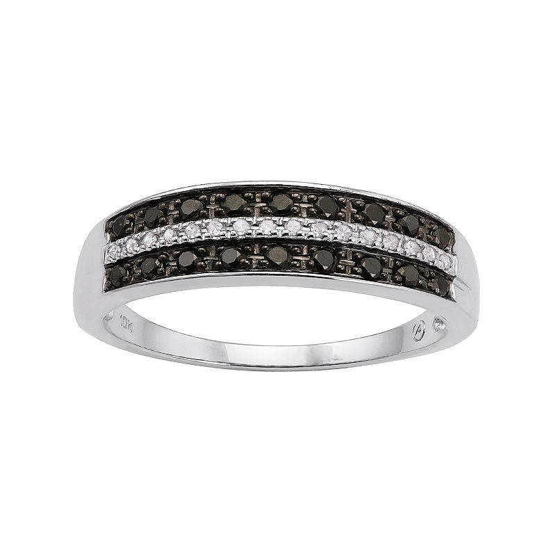 1/4 Carat T.W. Black and White Diamond 10k White Gold Ring