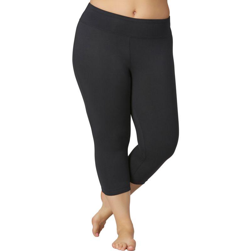 Plus Size Marika Sanded Dry Wik Flat Waist Capri Yoga Leggings, Women's, Size: 2XL, Black