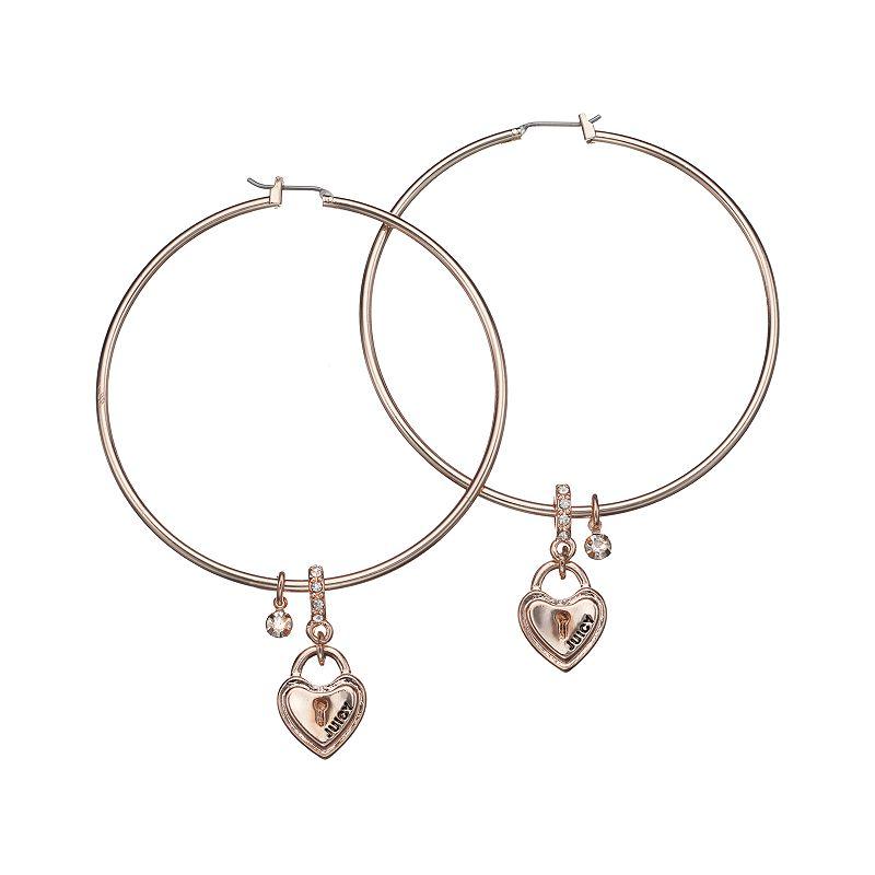 Juicy Couture Hoop & Heart Drop Earrings