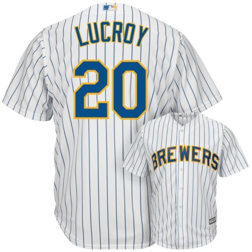 Men's Majestic Milwaukee Brewers Jonathan Lucroy Alternate Cool Base Replica MLB Jersey