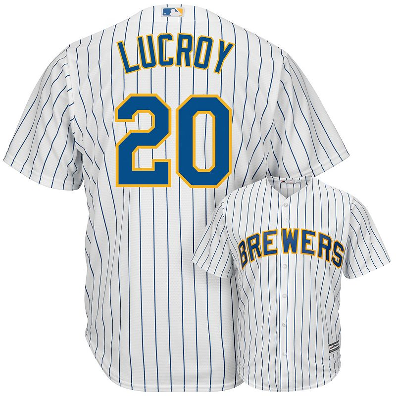 Men's Majestic Milwaukee Brewers Jonathan Lucroy Alternate Cool Base Replica MLB Jersey