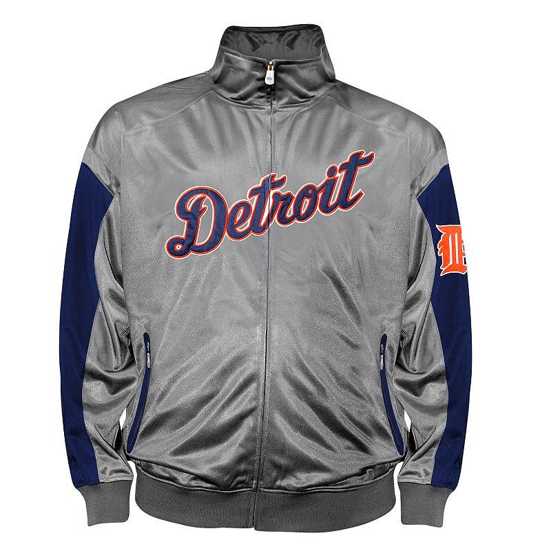 Big & Tall Detroit Tigers Charcoal Tricot Track Jacket
