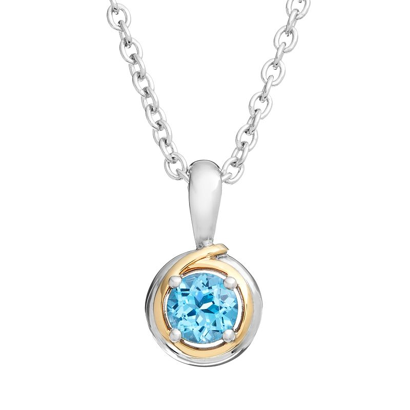 Blue Topaz Sterling Silver Circle Pendant Necklace