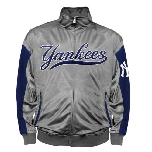 Big & Tall New York Yankees Charcoal Tricot Track Jacket