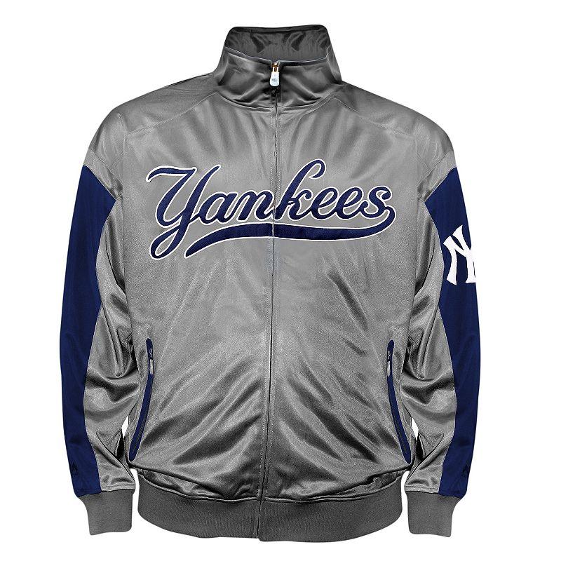Big & Tall New York Yankees Charcoal Tricot Track Jacket
