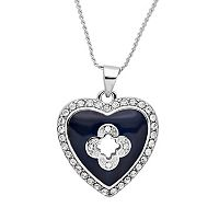 Marie Claire Jewelry Crystal Silver Tone Heart Pendant Necklace