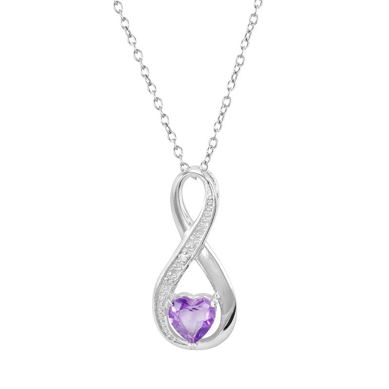 RADIANT GEM Amethyst Sterling Silver Infinity Pendant Necklace