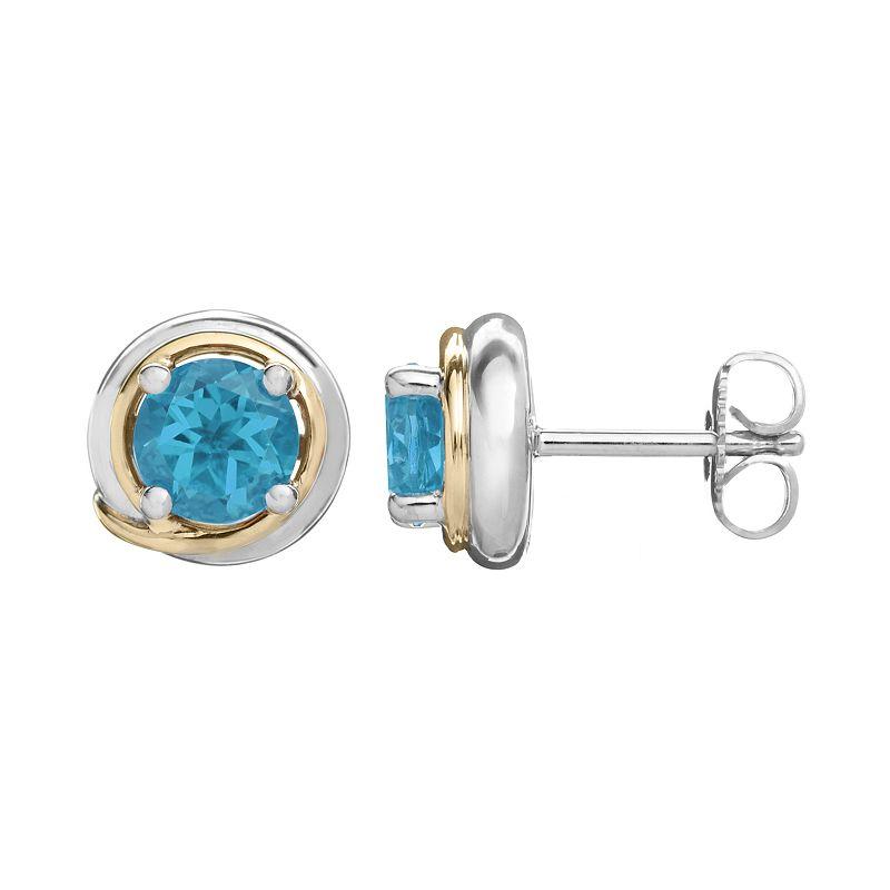 Blue Topaz Sterling Silver Circle Stud Earrings