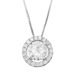 Forever Brilliant 1 1/5 Carat T.W. Lab-Created Moissanite 14k White Gold Halo Pendant Necklace by