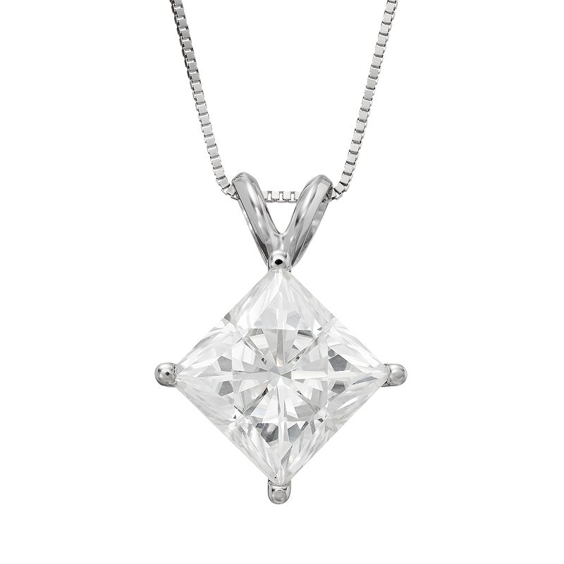 Forever Brilliant 3 1/10 Carat T.W. Lab-Created Moissanite 14k White Gold Pendant Necklace