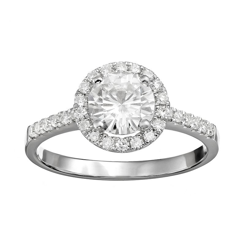 Forever Brilliant 1 1/3 Carat T.W. Lab-Created Moissanite 14k White Gold Halo Ring