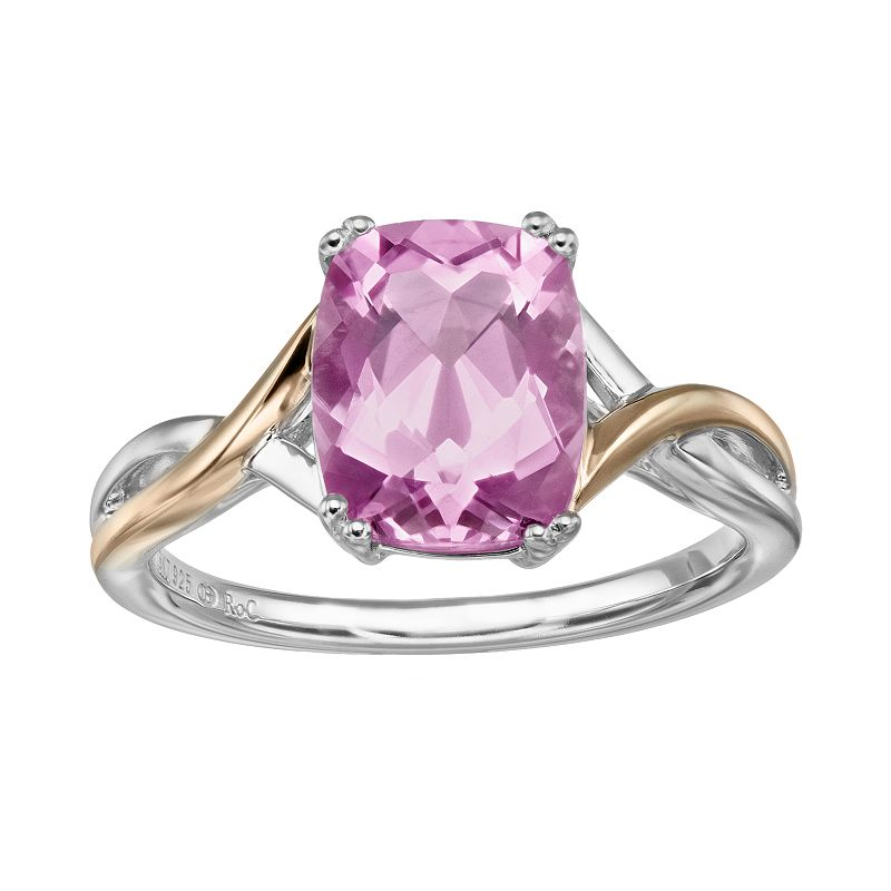 Lab-Created Pink Sapphire Sterling Silver Crisscross Ring